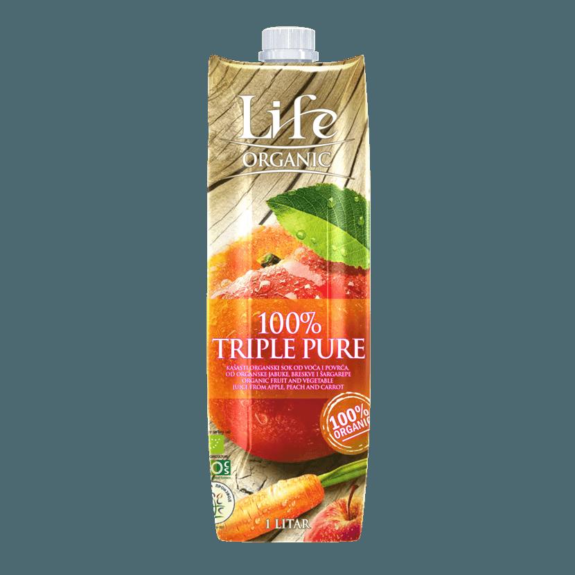 Life, яблочный-персиковый-морковный сок, 1.0 л.