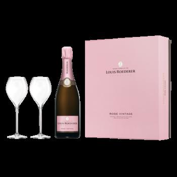 Шампанское Louis Roederer Brut Rose + 2 бокала в подарочной коробке, 0.75 л., 2012 г. (s)