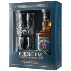 Виски Jim Beam Double Oak+2 стакана , 0.7 л.