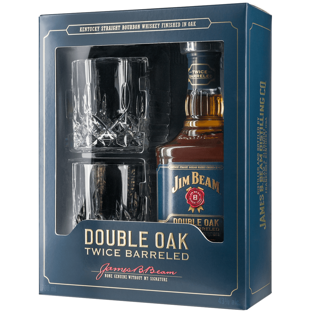 Jim Beam Double Oak+2 стакана , 0.7л